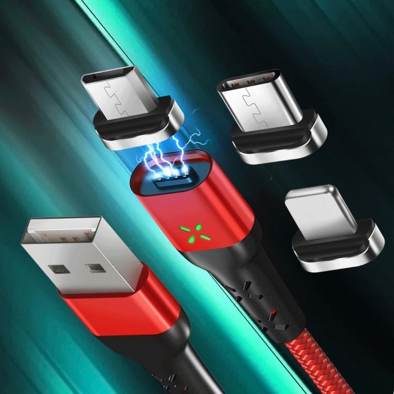 Cabo USB magnético + ponta magnética  Micro USB