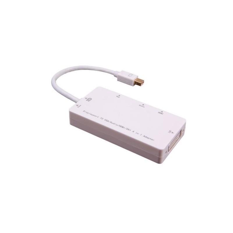 Cabo Adaptador Mini Displayport to Áudio, HDMI, DVI e VGA (usb para alimentação) - Branco
