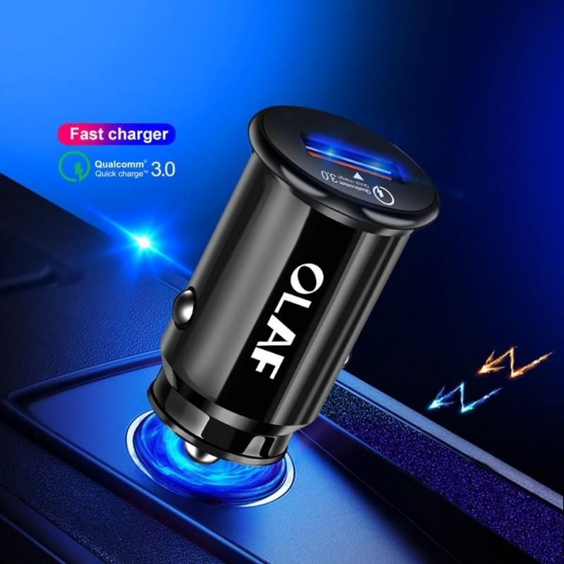 Carregador OLAF carro 3.0 USB 5V 3A - Carregamento Rápido