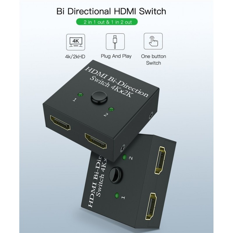 Adaptador GOEIK 2 em 1 bidirecional HDMI splitter and switch 4K