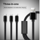 Cabo Goeik USB em Nylon 3 em 1: Type-C, Lightning e Micro Usb - Cinzento