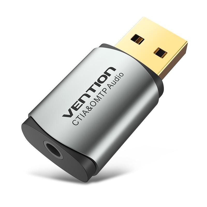 Adaptador Placa de Som USB externa (OMTP-CTIA) para Jack 3.5mm Fêmea - Cinzento Metalizado - Vention