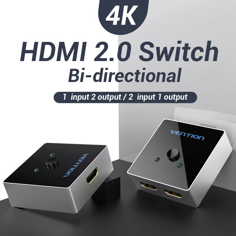 Comutador Bidirecional Splitter e Switch HDMI de 2 portas - Cinza Metalizado - Vention