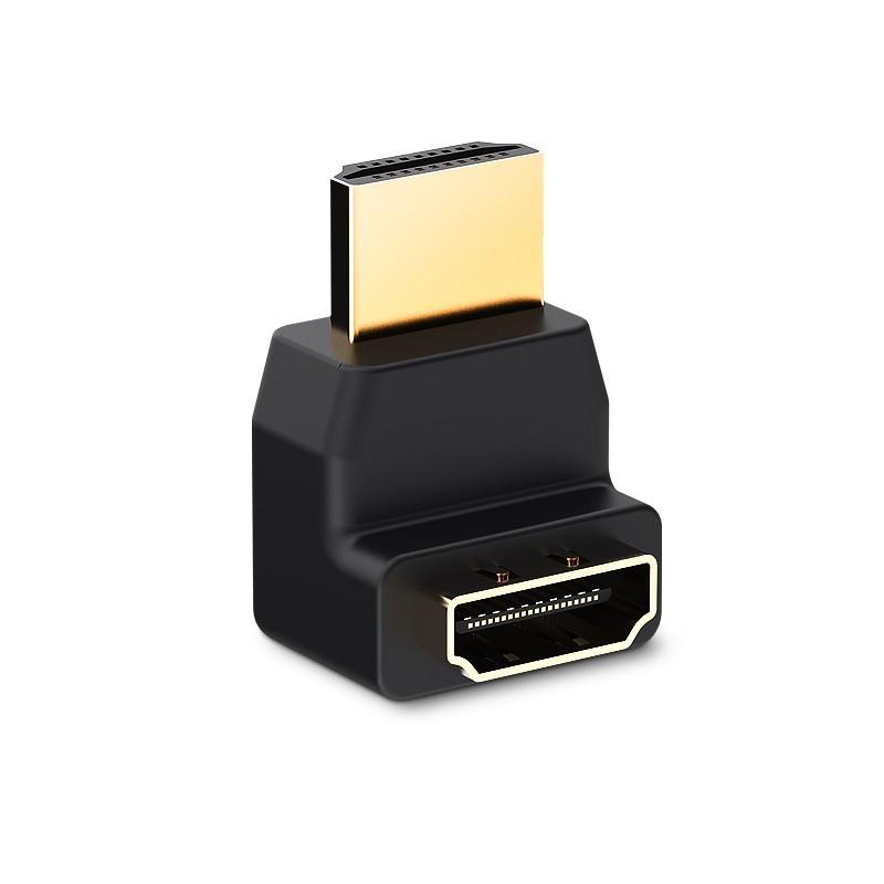 Adaptador HDMI Macho para HDMI Fêmea 90 graus - Preto