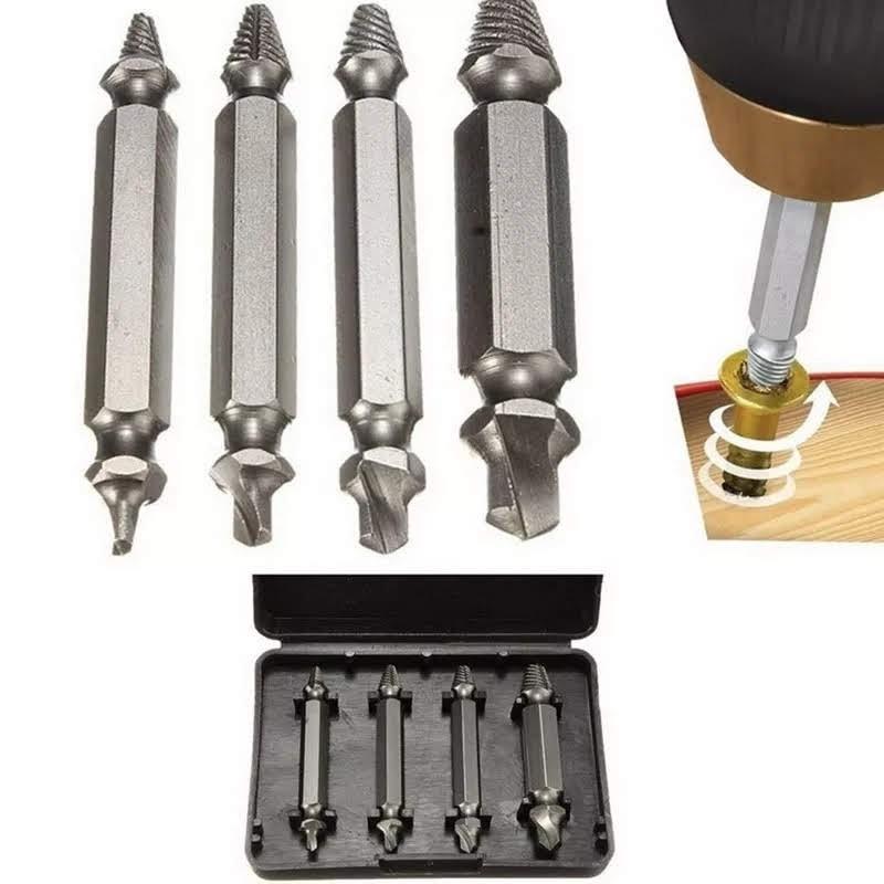 kit de Ferramentas, com 4 brocas extratoras de parafusos danificados ou moídos