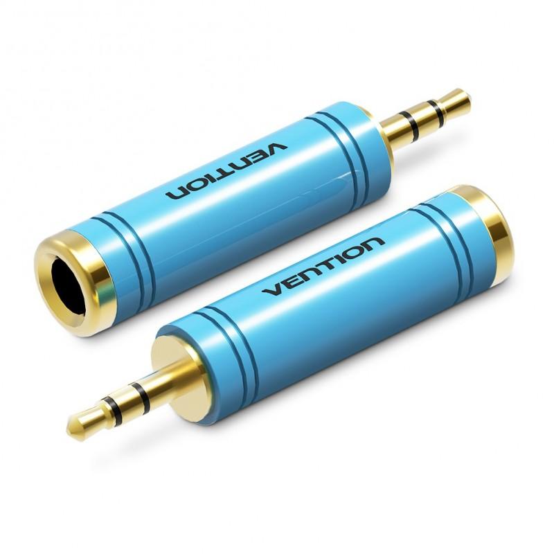 Adaptador Conversor de Áudio Jack 6.5mm Stéreo Fêmea para 3.5mm Macho - Azul