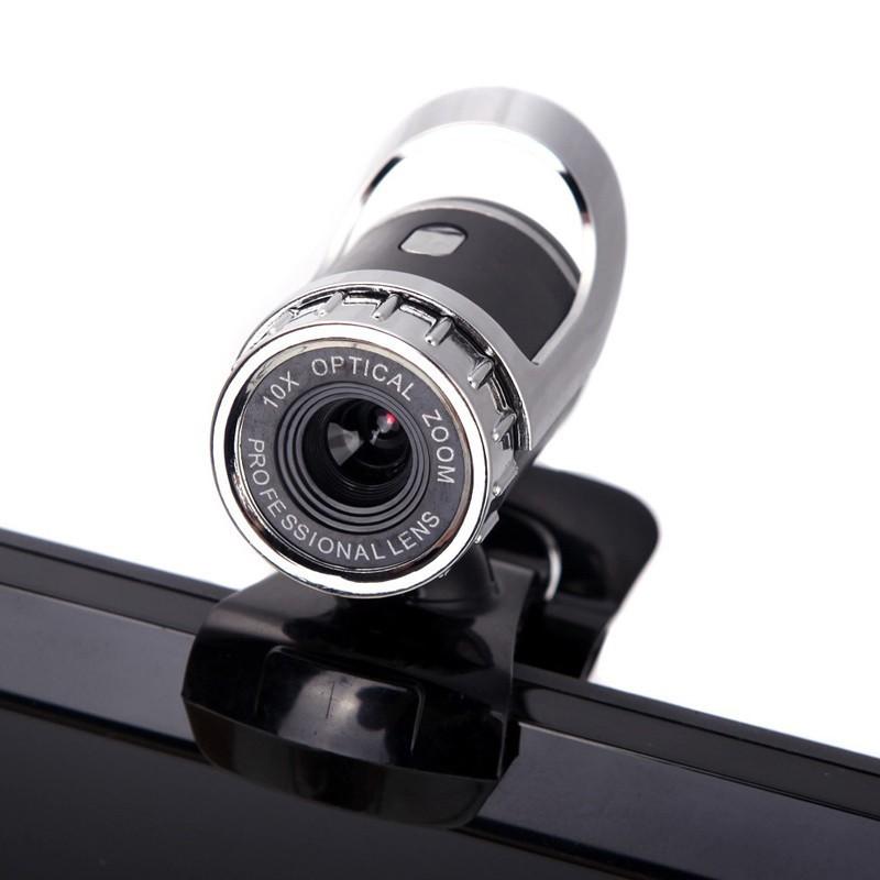 Webcam com microfone Goeik - Câmera HD - 360 graus e clipe de suporte - USB 2.0 - Preta e prata