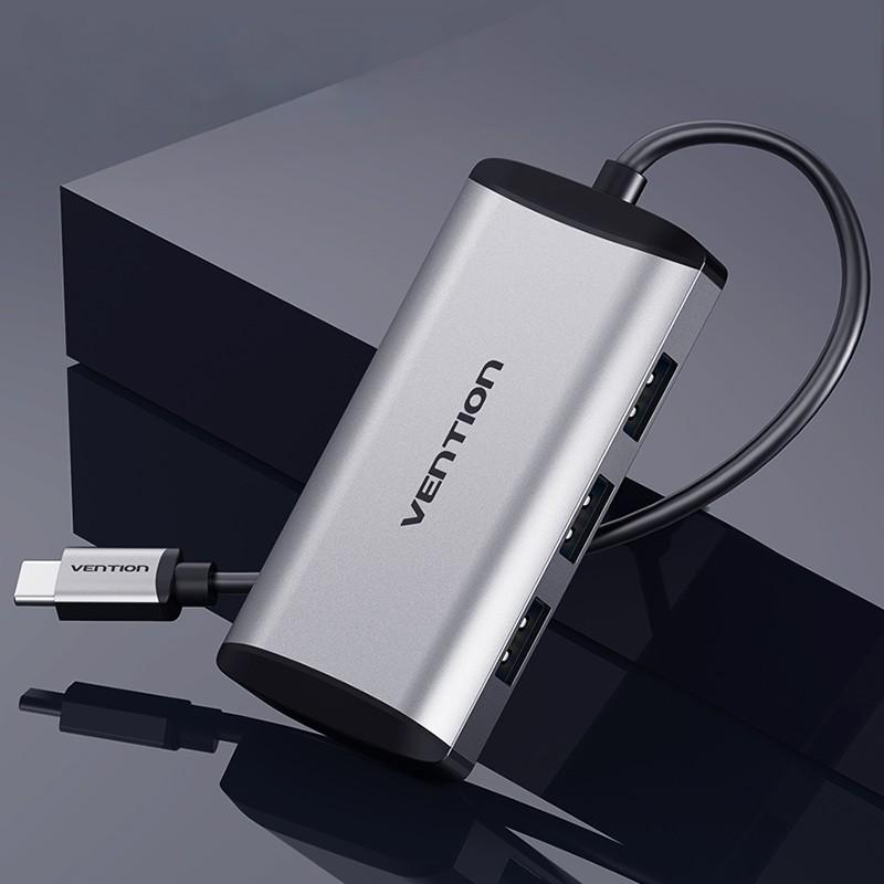 HUB Tipo-C com 3 entradas USB3.0 e 1  entrada  Micro USB de 0.15 metros - Cinzento Metalizado