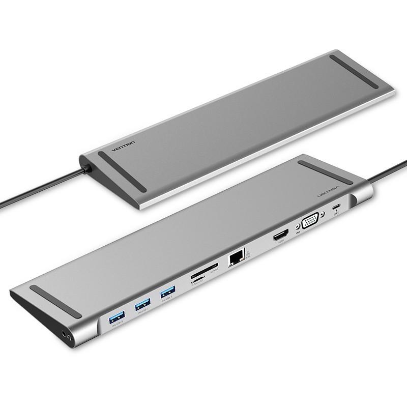 Docking Station Tipo-C Macho para USB3.0 Fêmea A/ HDMI Fêmea A/ VGA Fêmea/ RJ45/ SD/ TF/ 3.5mm/ PD de 0,25 metros - 10 em 1