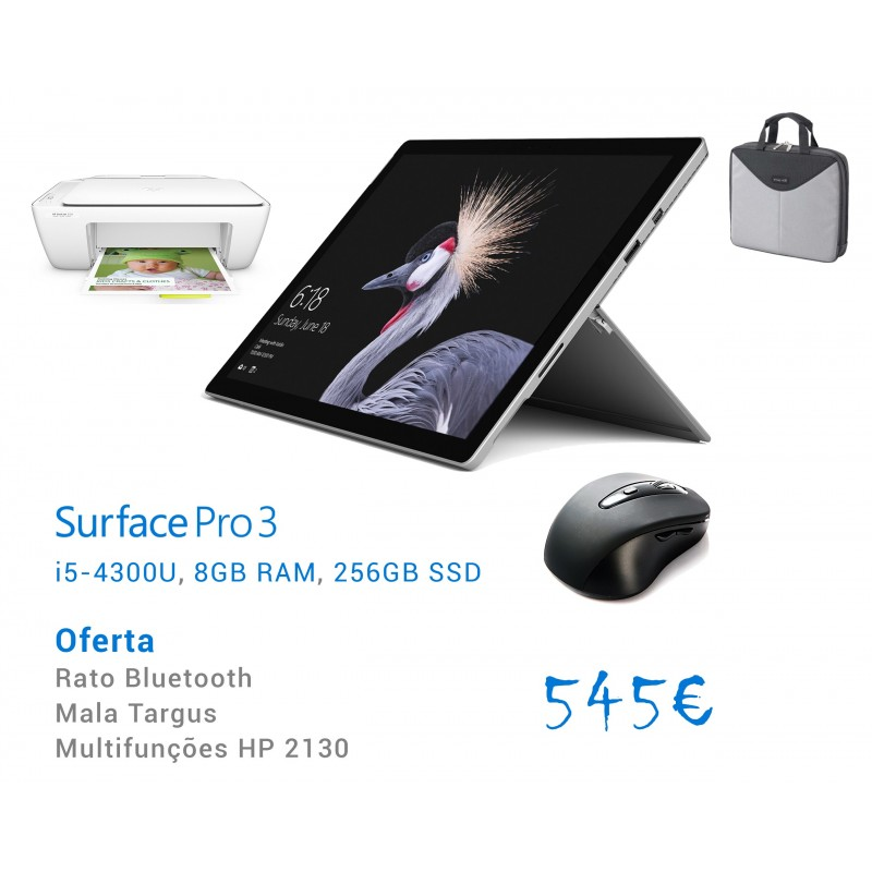 Surface 3 pro, i5, 8GB, 256GB + Mala + Rato + Impressora
