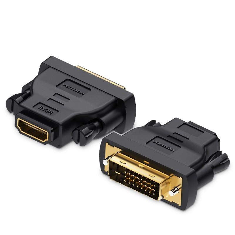 Adaptador Conversor DVI (24 + 1) Macho para HDMI Fêmea - Preto - Vention