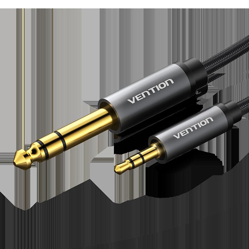 Cabo de Áudio de Nylan Trançado Stereo Jack 3.5mm para Jack 6.5mm Macho - Cinzento