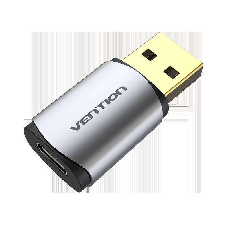 Adaptador Placa de Som USB para Tipo-C Fêmea - Metalizado - Vention