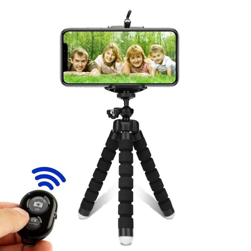Tripé de telemóvel para selfie, com controlo remoto Bluetooth