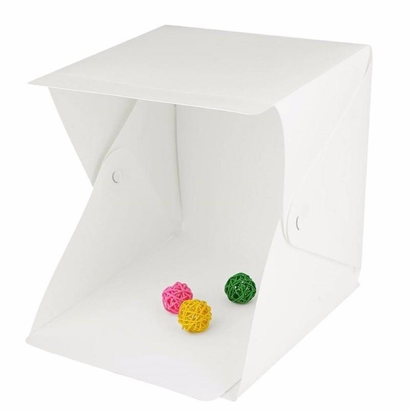 Mini Estúdio Fotográfico Portátil, com Iluminação LED e 2 Fundos Amovíveis – Modelo 24*23*22cm - Goeik