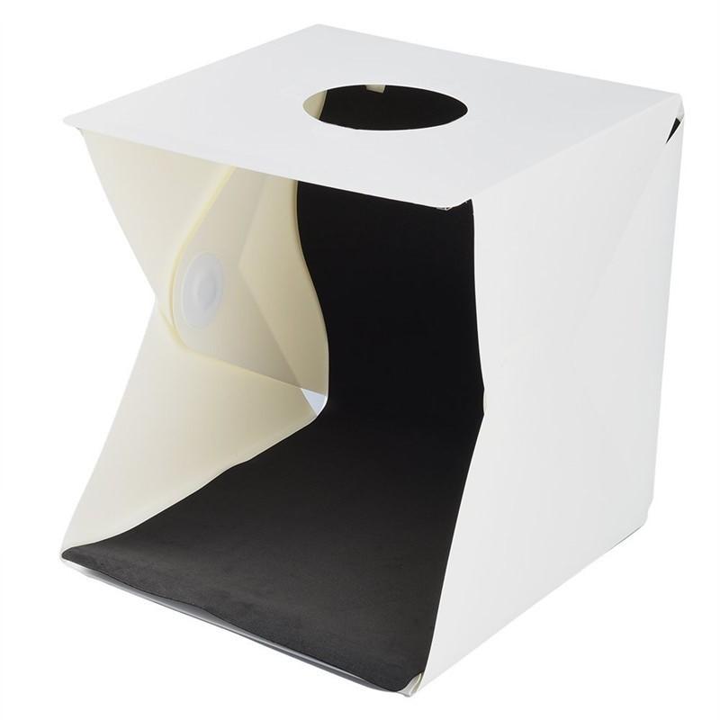 Mini Estúdio Fotográfico Portátil, com Iluminação LED e 2 Fundos Amovíveis – Modelo 30*30*30cm - Goeik