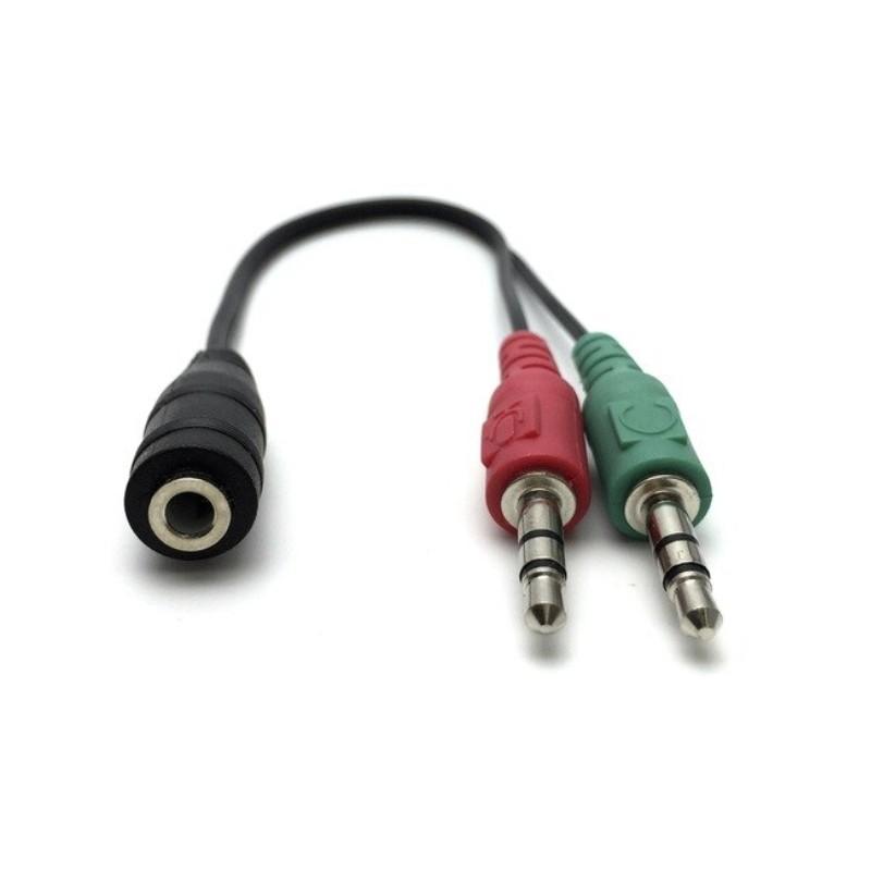 Cabo Divisor de Áudio Jack 3.5mm Fêmea para 2 Jacks 3.5mm Macho para Fones e Microfone - Goeik