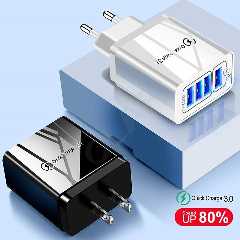 Carregador USB carregamento rápido Qualcomm 3.0 com 4 Portas USB para telemóvel Android ou iPhone - Branco e Preto - Goeik