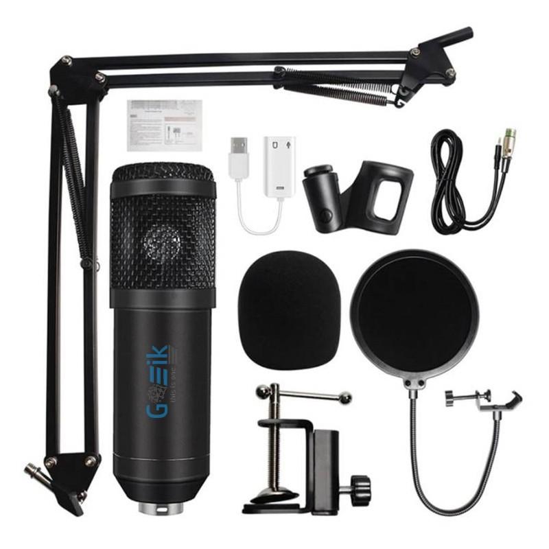 Microfone BM-800 com Tripé, Suporte, Clipe, Placa USB, Esponjas e Cabo XLR-3.5mm para Videoaula e Videoconferência - Goeik