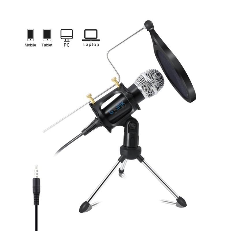 Microfone com Condensador, Tripé e Esponja para Computador, Telemóvel, Karaoke, Videoaula – Jack 3.5mm - Goeik