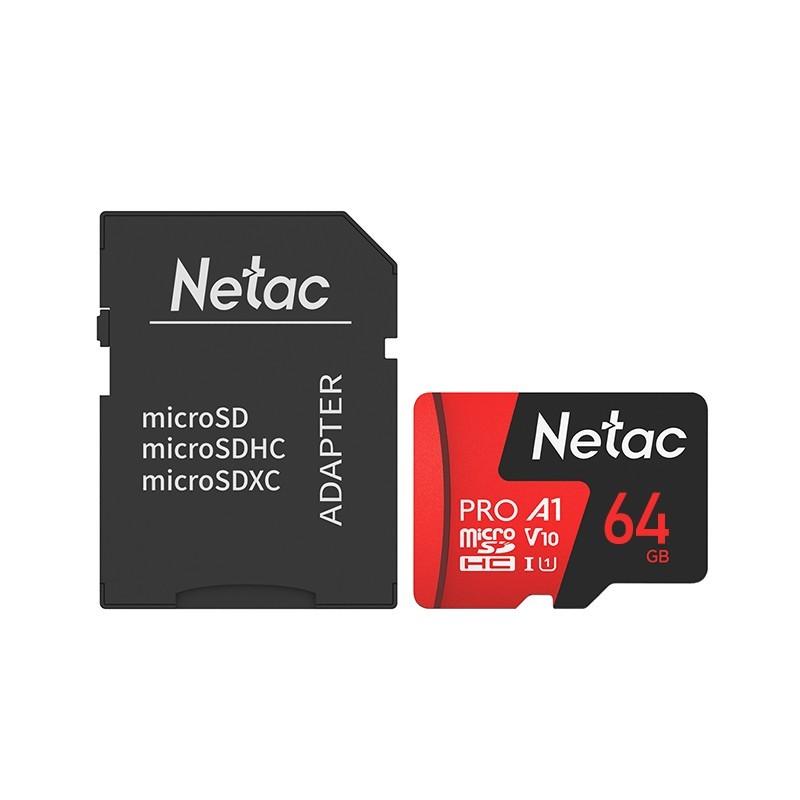Cartão Micro SD Netac, de 64GB, com adaptador