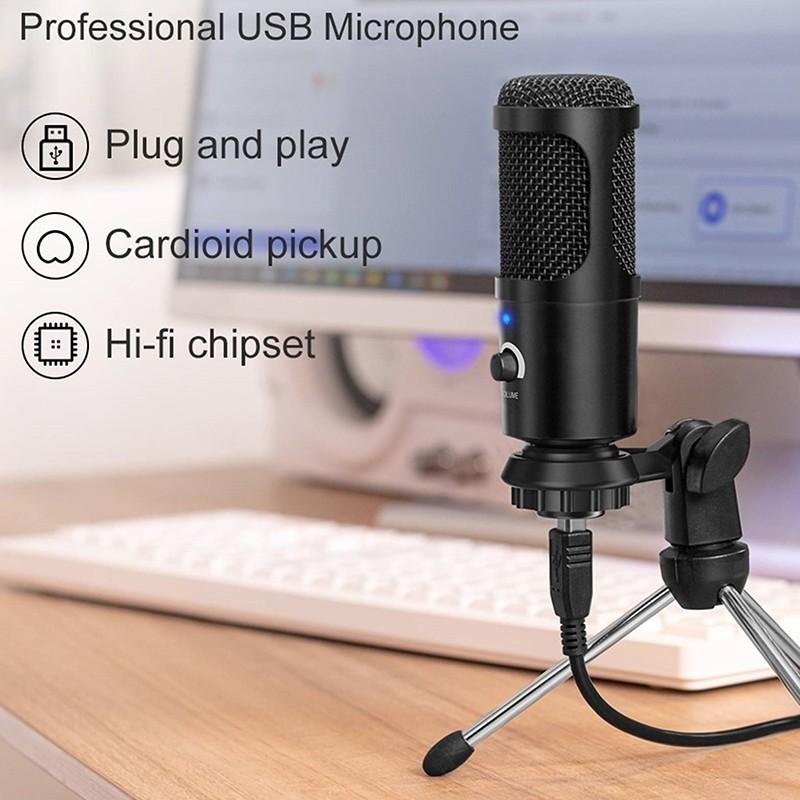Microfone com Condensador, Tripé e Esponja para Computador, Telemóvel, Karaoke, Videoaula ou Videoconferência - USB - Goeik