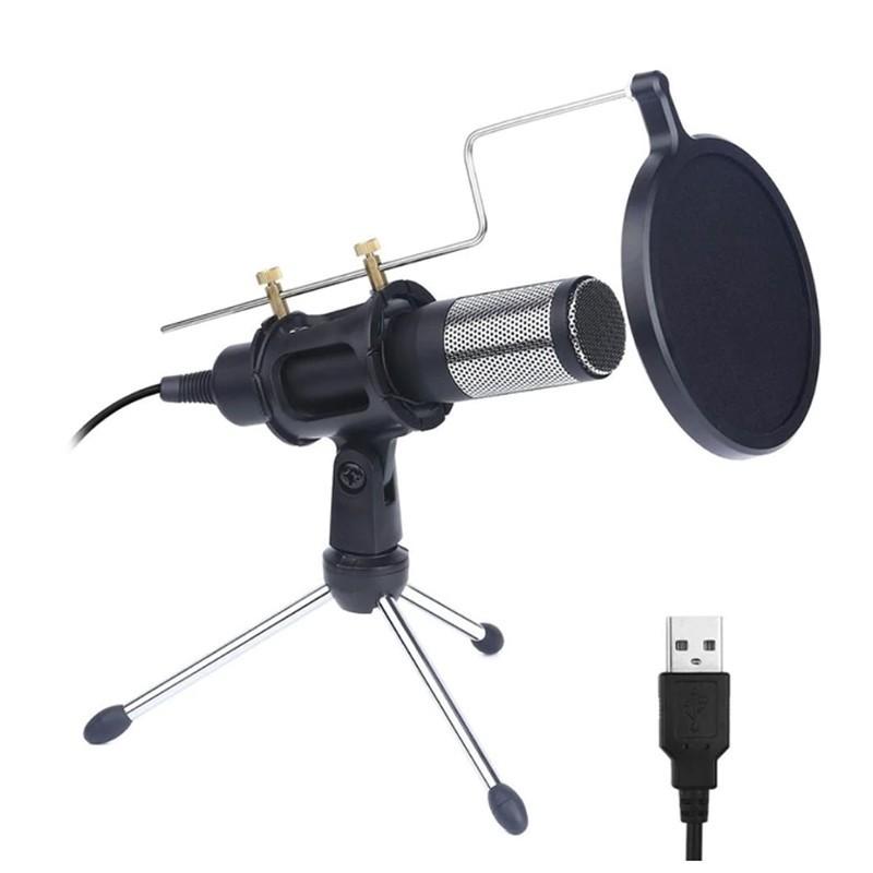 Microfone Profissional com Condensador e Filtro, para Computador, Telefone, Estúdio, Videoconferência, Karaoke - Preto - Goeik